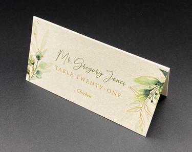 Green Gold Botanical Place Card