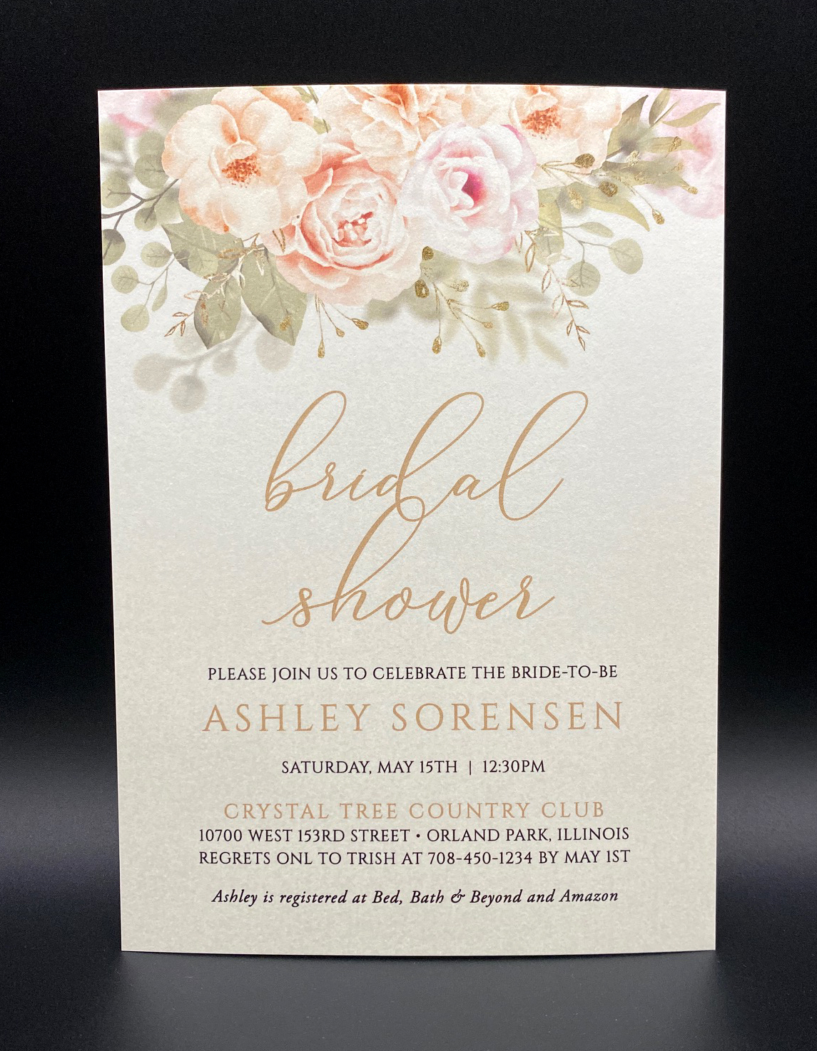 Gold Pink Floral Bridal Shower