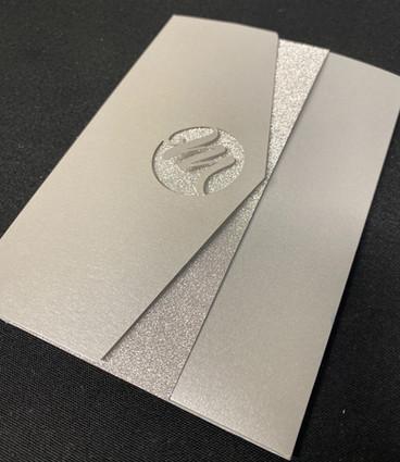 Monogram Glitter Pocket Invitation