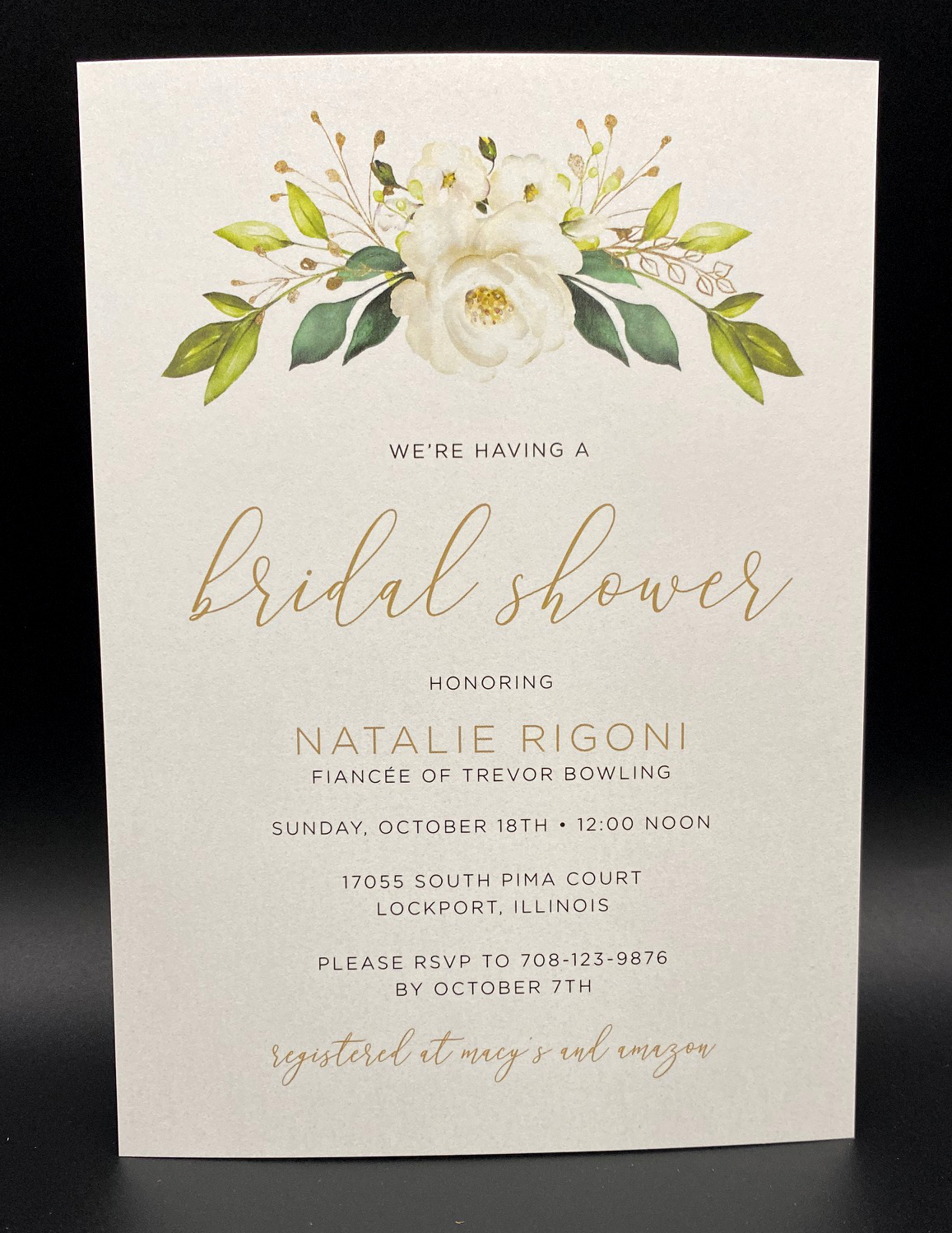 White Floral Bouquet Bridal Shower