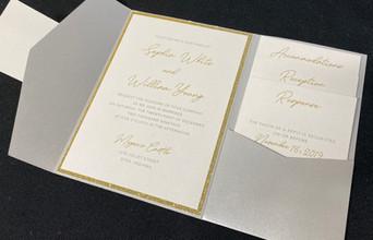 Simple Gold & Silver Pocket Invitation