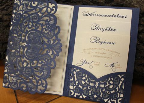 Blue Lace Pocket Invitation