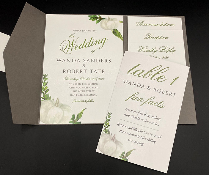 White Pumpkin Wedding Invitation with Table Number