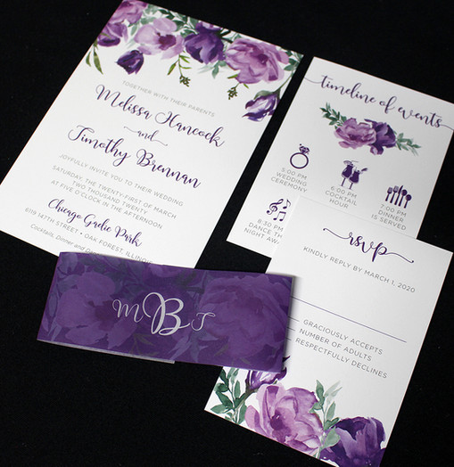 Purple Floral Belly Band Invitation