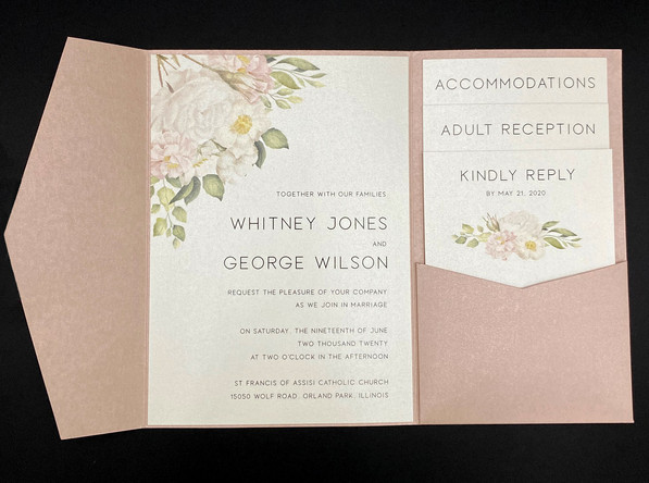 Rose Quartz Floral Pocket Invitation