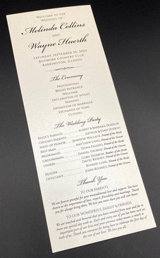 Single Sided Tall Card Wedding Program