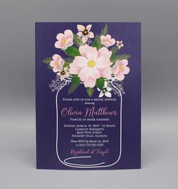 Blue Background Pink Flowers Bridal Shower