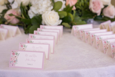 Pink Floral Place Cards
