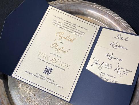 Blue & Gold Simple Pocket Invitation