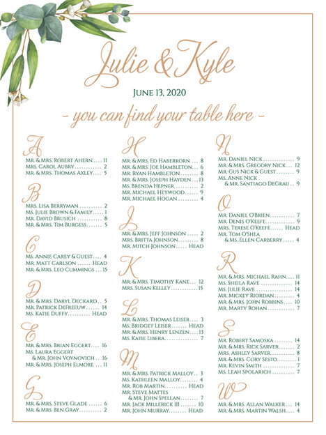Botanical Gold Frame Seating Chart