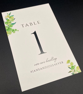 Botanical Hashtag Table Number