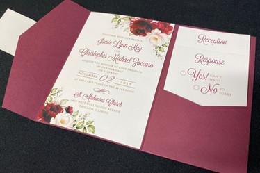 Burgundy Pink Floral Pocket Invitation