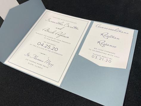 Simple Light Blue Pocket Invitation