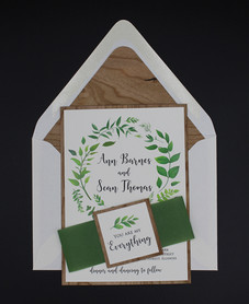 Botanical Leaves Belly Band Invitation