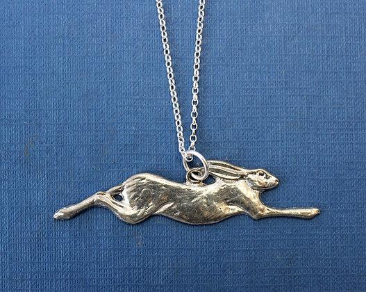Running hare pewter pendant