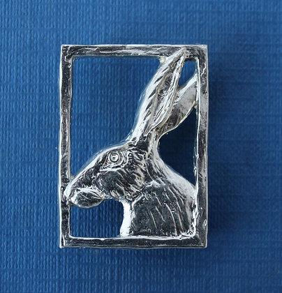 Hare in profile brooch