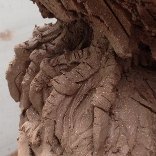 Raven's claws ( detail ) of clay sculpture before firing.