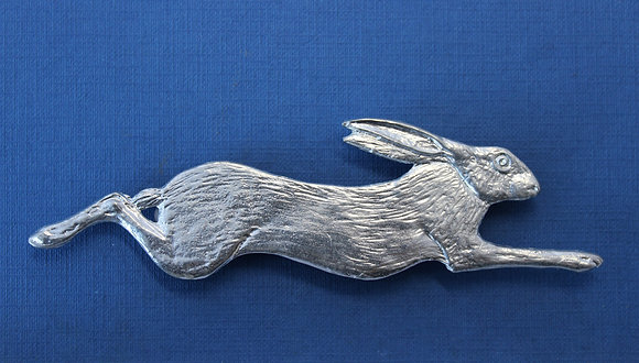 Large pewter running hare brooch.