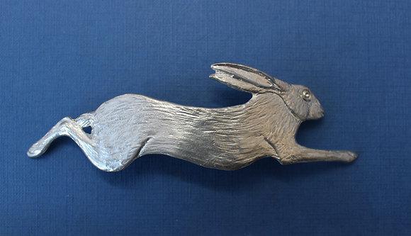 Large pewter running hare Hair slide