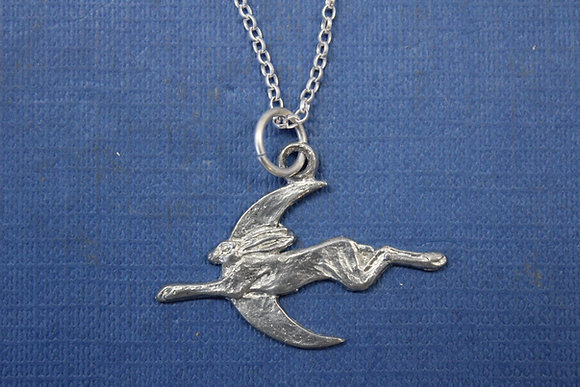 Small hare and moon pendant