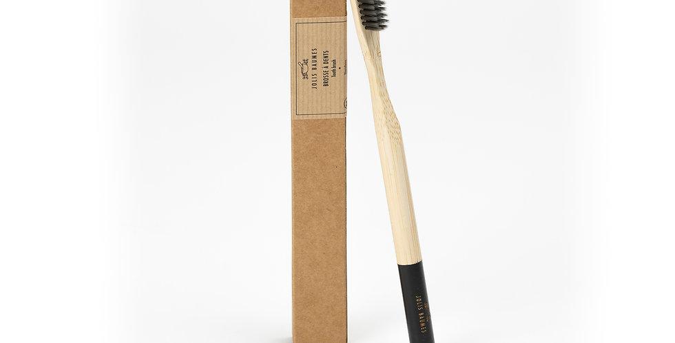 Brosse à dent Adulte noire médium en bambou
