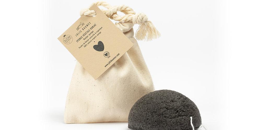 Eponge Konjac charbon végétal dans sac en coton GOTS