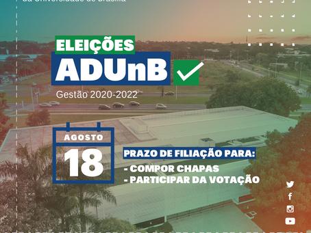 Eleição ADUnB: prazos de filiação para voto e participação em chapas