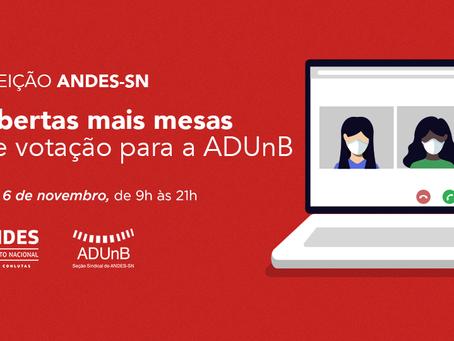 Eleição ANDES: a pedido da Comissão Eleitoral Local, foram abertas mais mesas virtuais para a ADUnB.