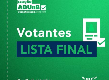 Eleição ADUnB: lista final homologada