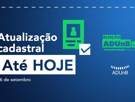 Eleição ADUnB: atualização cadastral pode ser feita até hoje.