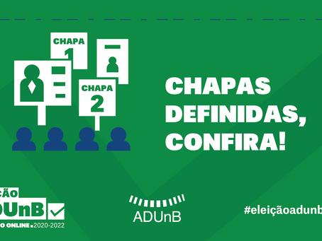 Eleição ADUnB: Chapas homologadas