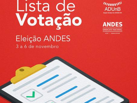 Eleição ANDES-SN: lista de votantes