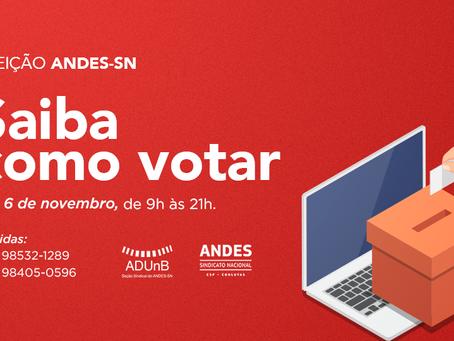 Eleição telepresencial ANDES, de 3 a 6 de novembro. Veja como votar.