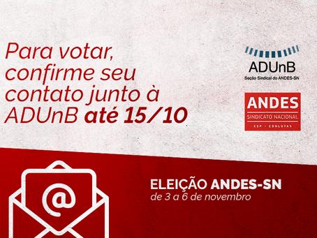 Eleição ANDES-SN: professor(a), confirme o seu e-mail para participar