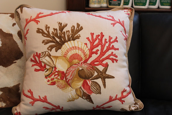 Coral themed pillow