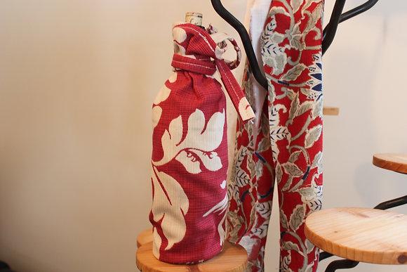 A flower themed wine bag