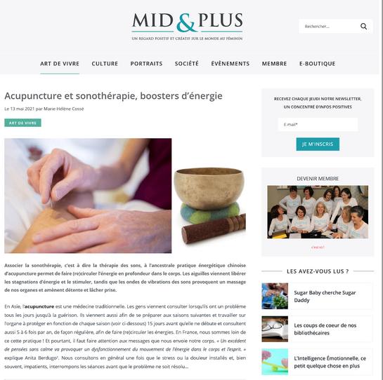 Acupuncture et sonothérapie, boosters d'énergie - Mid&Plus page1