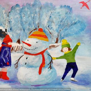 Ой зима, а мы лепим снеговика