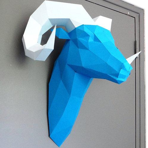Trophée origami Bélier - Kit DIY papier