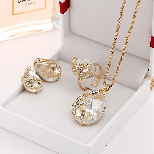 Gold Crystal Necklace, Earring & Ring Set