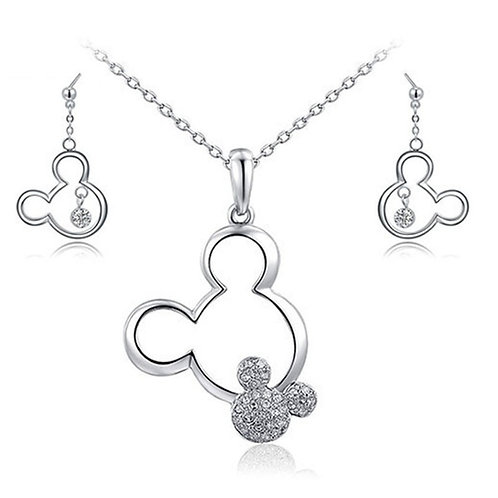 Crystal Mickey Necklace & Earrings Set