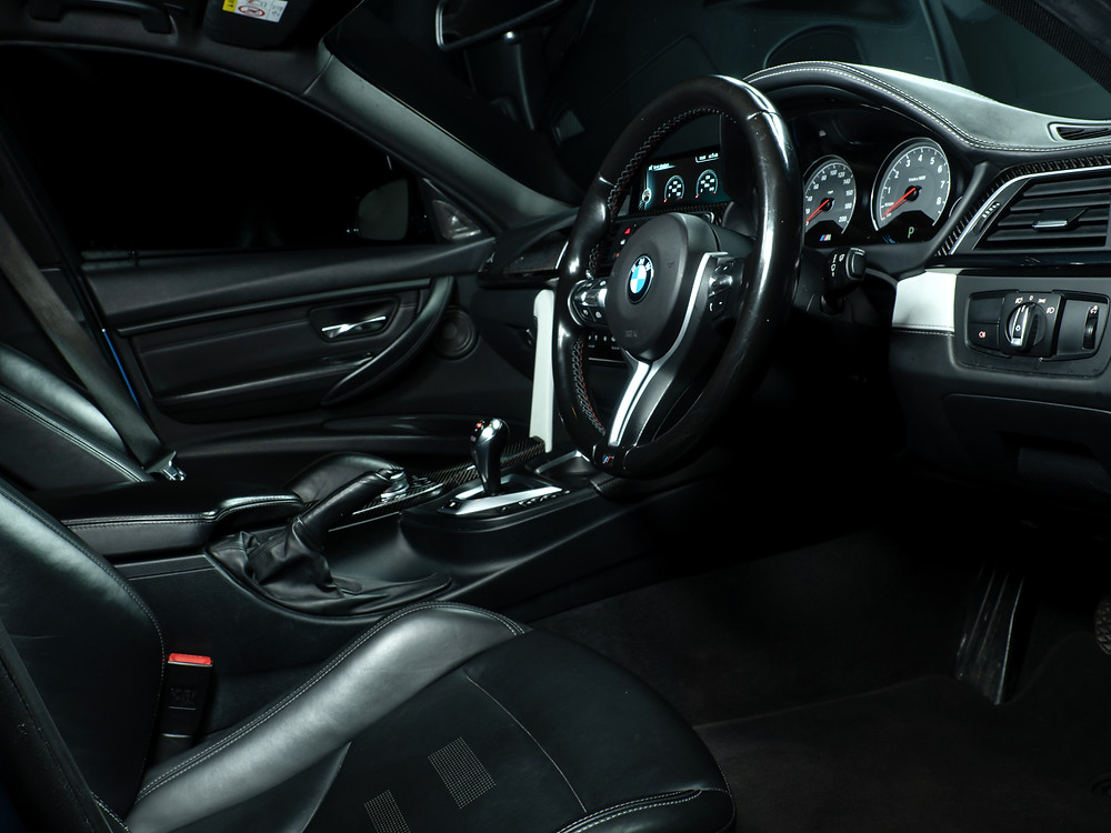 BMW M3 Interior with a black leather finish