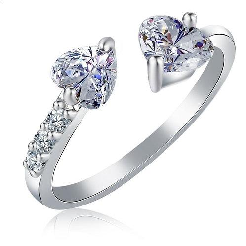 Adjustable Crystal Heart Ring