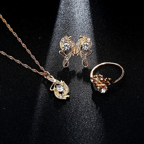 Gold Crystal Necklace, Ring & Earrings Set