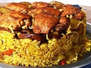 مقلوب دجاج بالباذنجان والازر البسمتي