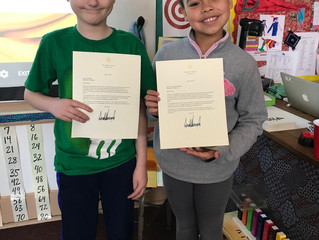 4th Grade-Kienya andMarcus got letters from the president!