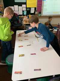 5th graders engage in hands on exploration of the concept of division