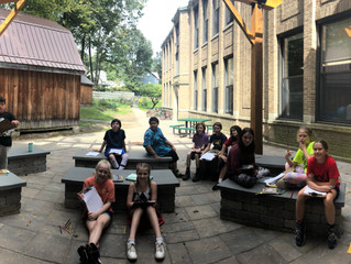 Fifth graders took literacy outside today to the outdoor classroom! While getting some fresh air we