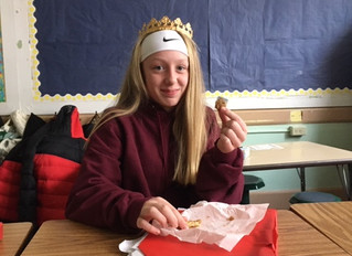 Zoe and Savanna are Queen of the Year because they found the hidden fève inside the galette, in cele