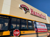 Student senators help load the bus and solicit donations at Project Feed the Thousands at Hannaford